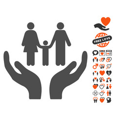 Family care hands icon with valentine bonus vector