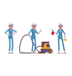 Female janitor standing with vacuum cleaner vector