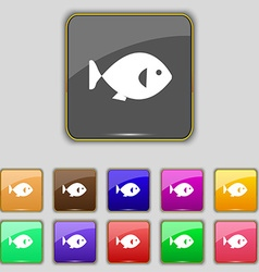 fish icon sign Set with eleven colored buttons for vector image