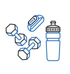 fitness bracelet sport water bottle and dumbbells vector image
