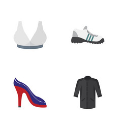 Flat clothes set of sneakers heeled shoe vector