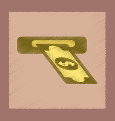 Flat shading style icon dollar money vector