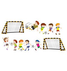 Football goal and boys playing ball vector