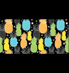 Fun pineapples repeat seamless pattrern in vector