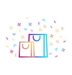 gift bags surrounded festive decor linear vector image