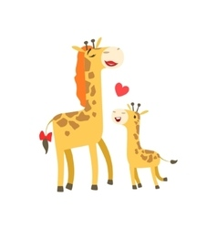 Giraffe Mom With Lipstick Animal Parent And Its vector image