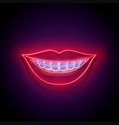 glow beautiful smile with braces and red lips vector image