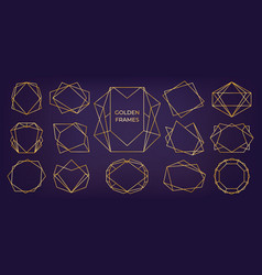 golden geometric frame wedding and birthday vector image