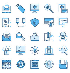 Hacking or hacker colored icons computer vector