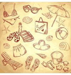 Hand drawn retro icons summer beach set vector image