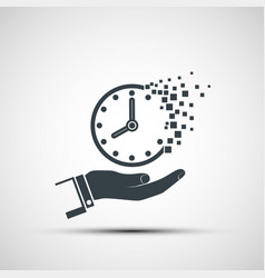 Icon hand holds a clock dial passing in sand vector