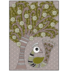 India birdie tree olive and brown colors vector
