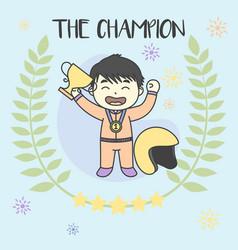 Kid the champion get medals win racing vector