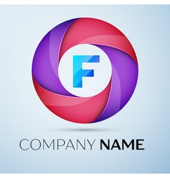 Letter F logo symbol in the colorful circle vector