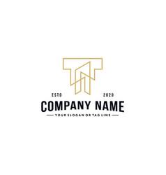 Letter t and building logo design vector