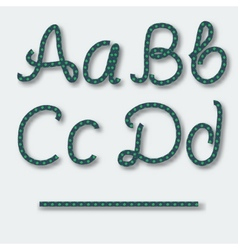 Letters A B C D - handwritten alphabet of rope vector