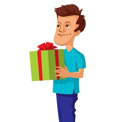 man with gift box vector image