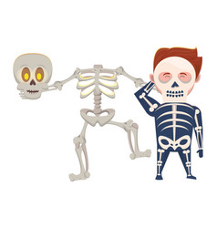 Man with halloween skull costume and skeleton vector