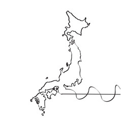 map of japan continous line vector image