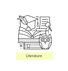 Modern thin line icons literature and education vector