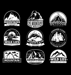 mountain emblems mountaineering camp and vector image