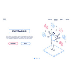multitasking concept - line design style isometric vector image