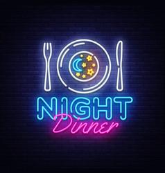 Night dinner neon sign restaurant logo vector