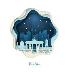 Paper art berlin origami concept night city vector
