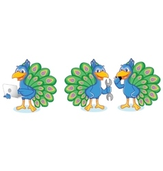 Peacock Mascot with laptop vector image