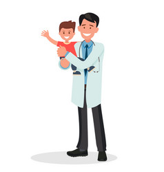 pediatrician man holds a healthy cheerful baby vector image