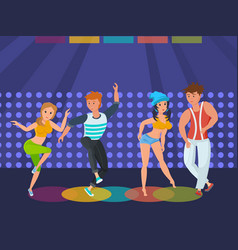 People relax at disco dance moves on dance floor vector