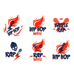 Rap music logos or emblems set with microphone in vector