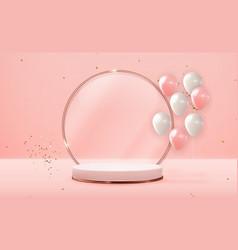 Realistic 3d rose gold pedestal over pink pastel vector