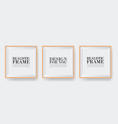 realistic wooden frame three photo frames mock-up vector image