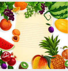 Recipe blank of fresh exotic fruits vector