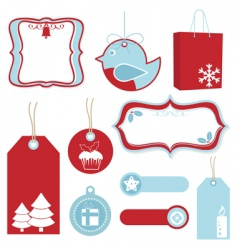 Red and blue Christmas tags vector