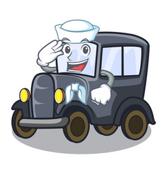 Sailor old car in shape character vector
