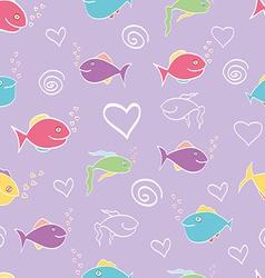 Seamless pattern cute cartoon fish vector