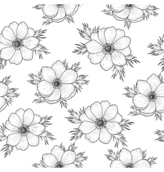 Seamless pattern with monochrome anemone vector