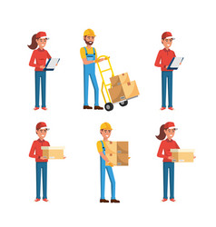 Set delivery men and women with boxes vector