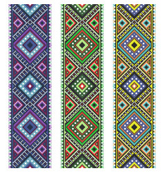 set folk art knitted embroidered good by cross vector image