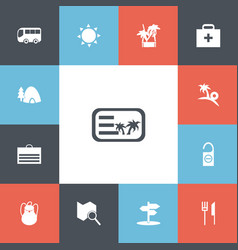set of 13 editable travel icons includes symbols vector image