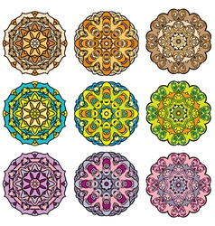 Set of 9 colorful round ornaments kaleidoscope flo vector image