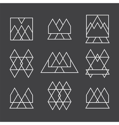 Set of 9 geometric shapes triangles squares and vector