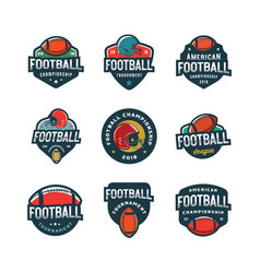 set of american football logos sport emblems vector image