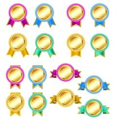 set of rosette golden badges vector image