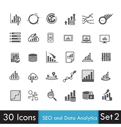 Set of SEO and Analytics icon isolated on white vector