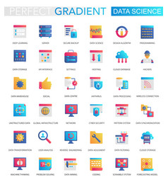 set trendy flat gradient data science vector image