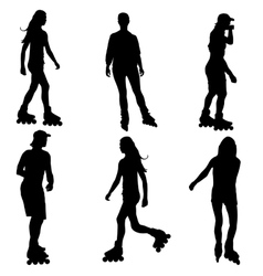 Silhouettes of people rollerskating vector