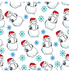 Snowmen pattern vector